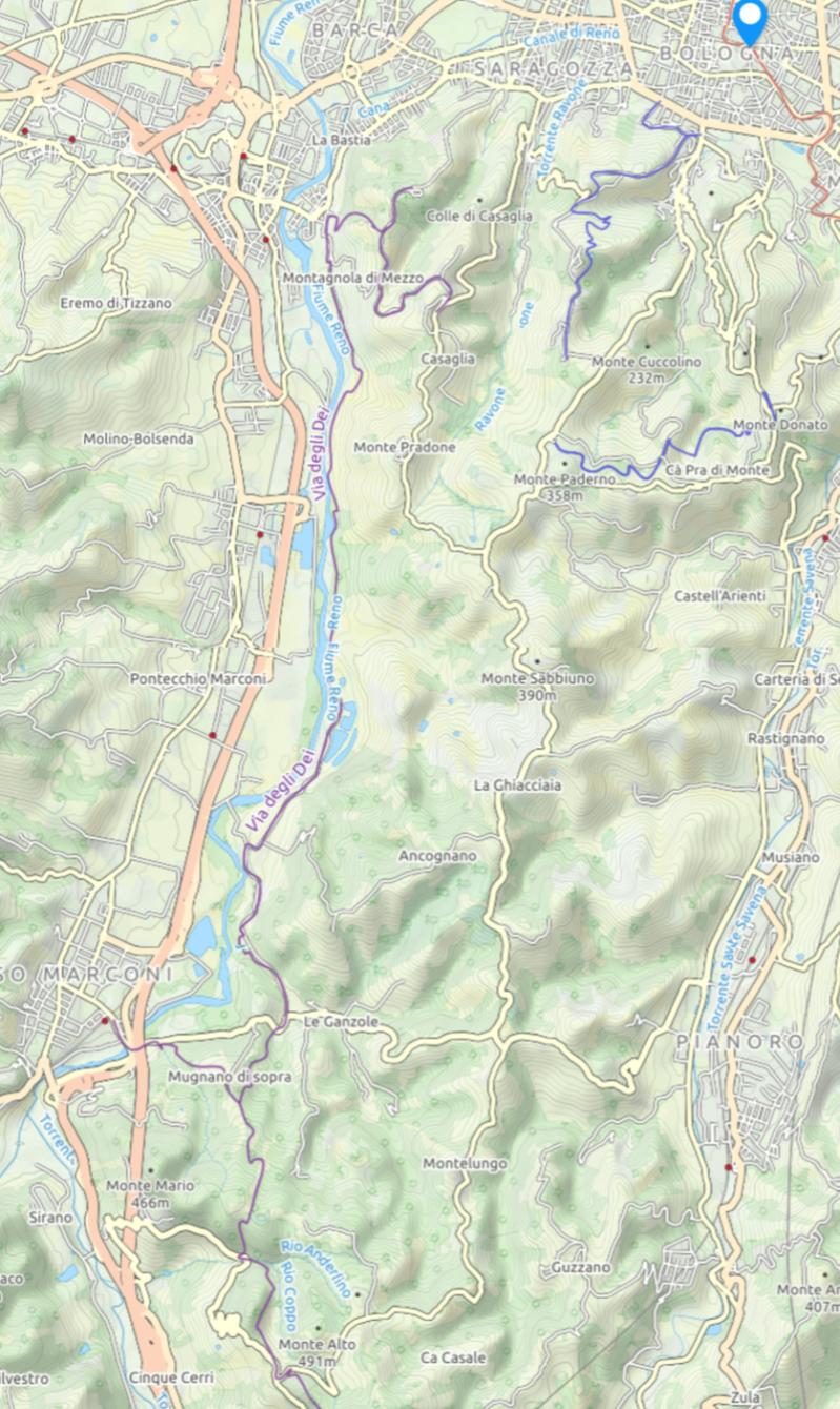 cartina via degli dei